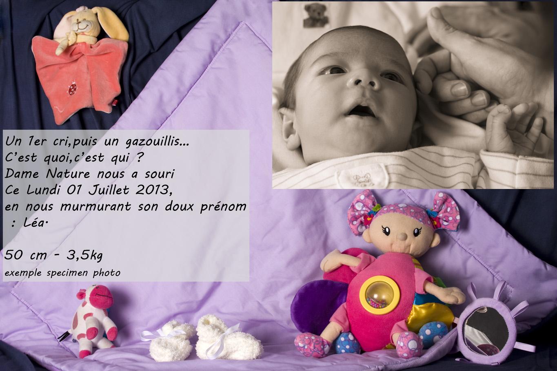 Création de faire parts de naissance, exclusivité Adrien B Photo.